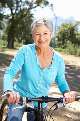 Senior on bike for bed wetting padding page