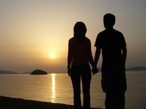 sunset and couple